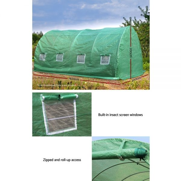 Greenfingers 4X3X2M Walk In Replacement Greenhouse PE Cover Shed – Cover Only 6