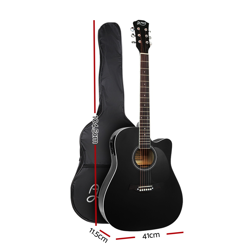 Alpha 41″ Inch Electric Acoustic Guitar Wooden Classical Full Size EQ Bass Black 2