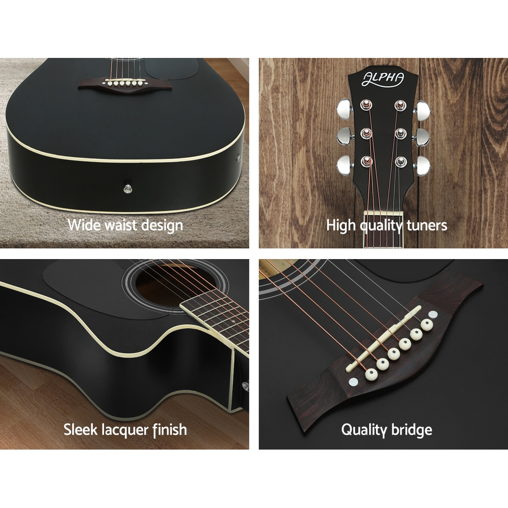 Alpha 41″ Inch Electric Acoustic Guitar Wooden Classical Full Size EQ Bass Black 7