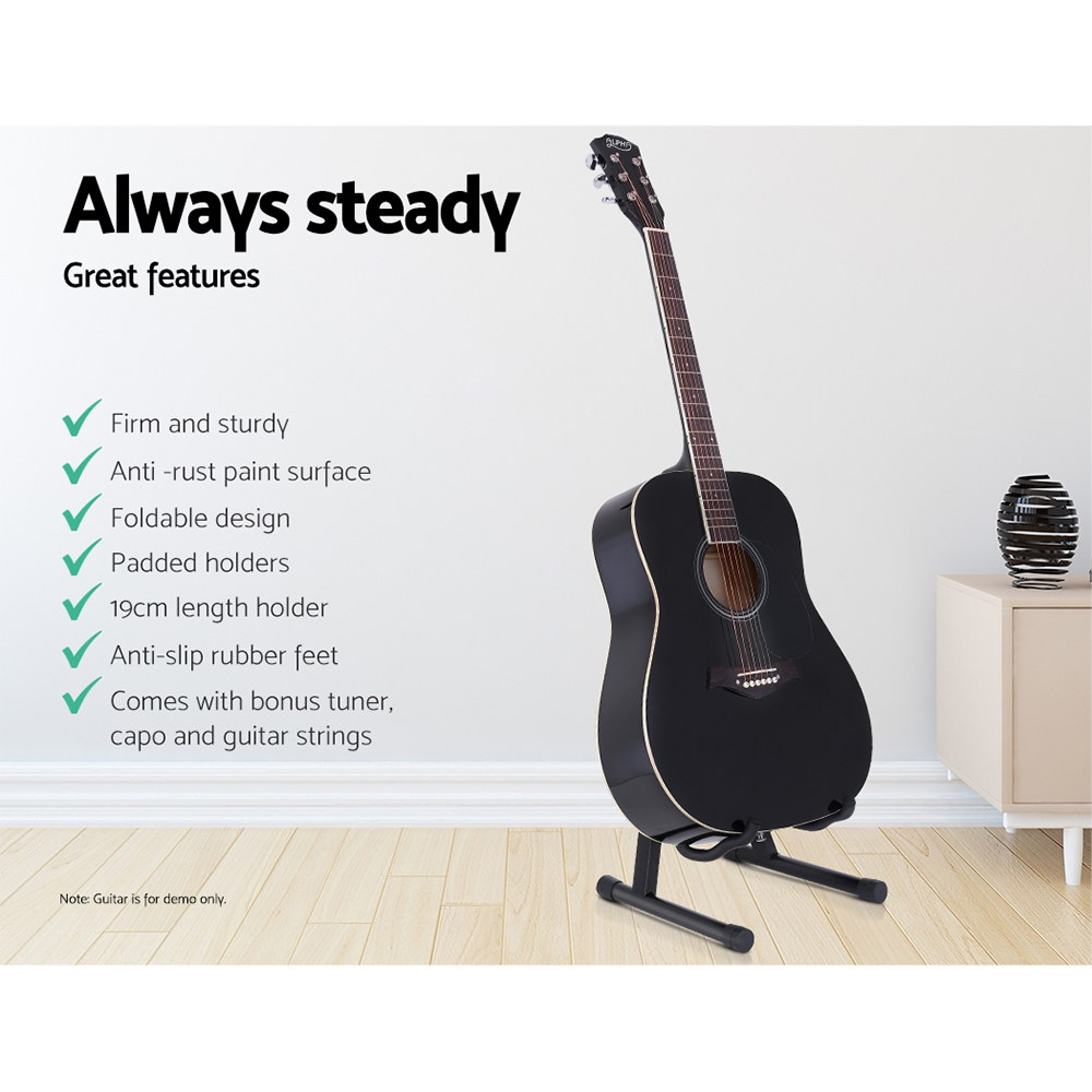 ALPHA Folding Acoustic Guitar Stand Bass Floor Rack Holder Accessories Pack 4