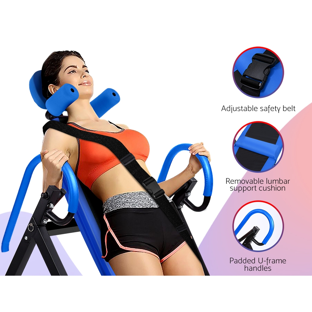 Everfit Gravity Inversion Table Foldable Stretcher Inverter Home Gym Fitness 3