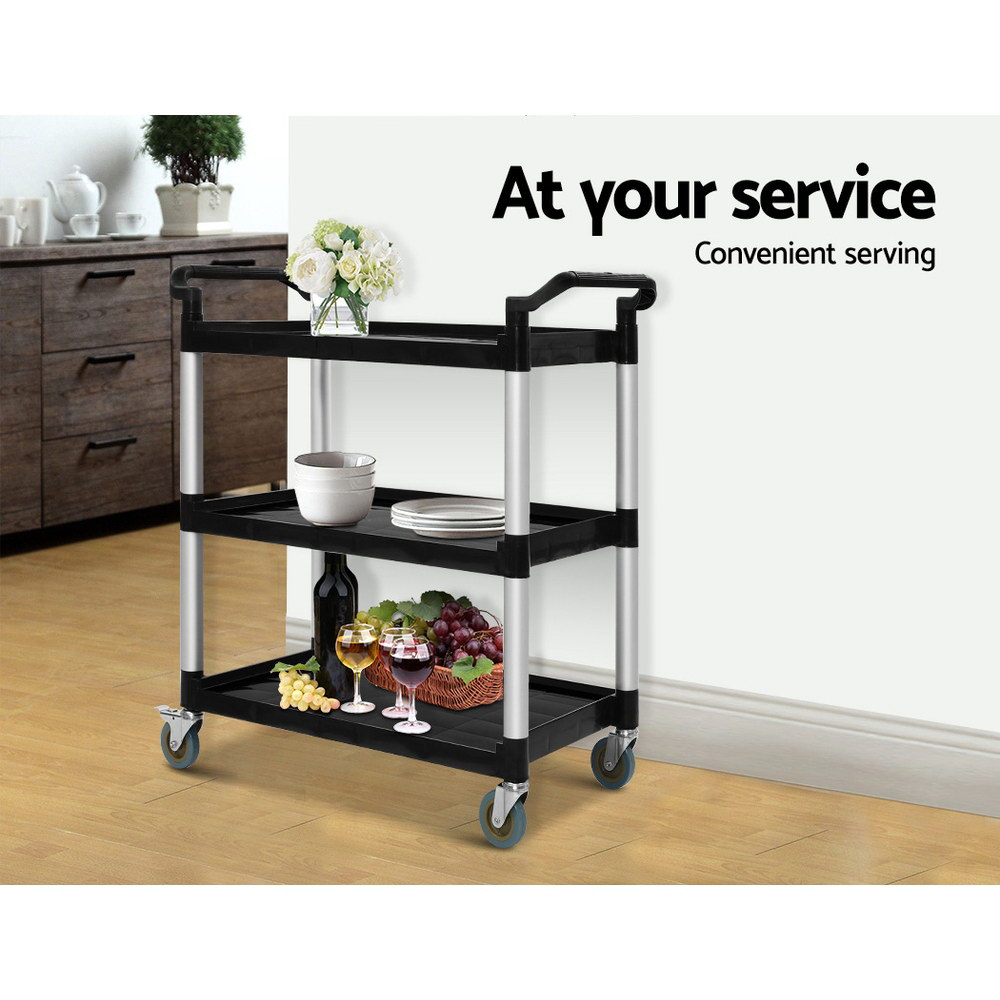 Emajin Service Cart Restaurant Trolley Kitchen Serving Catering Large Shelf 4