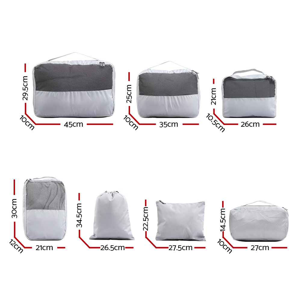 Wanderlite 7PCS Grey Luggage Organiser Suitcase Sets Travel Packing Cubes Pouch Bag 2