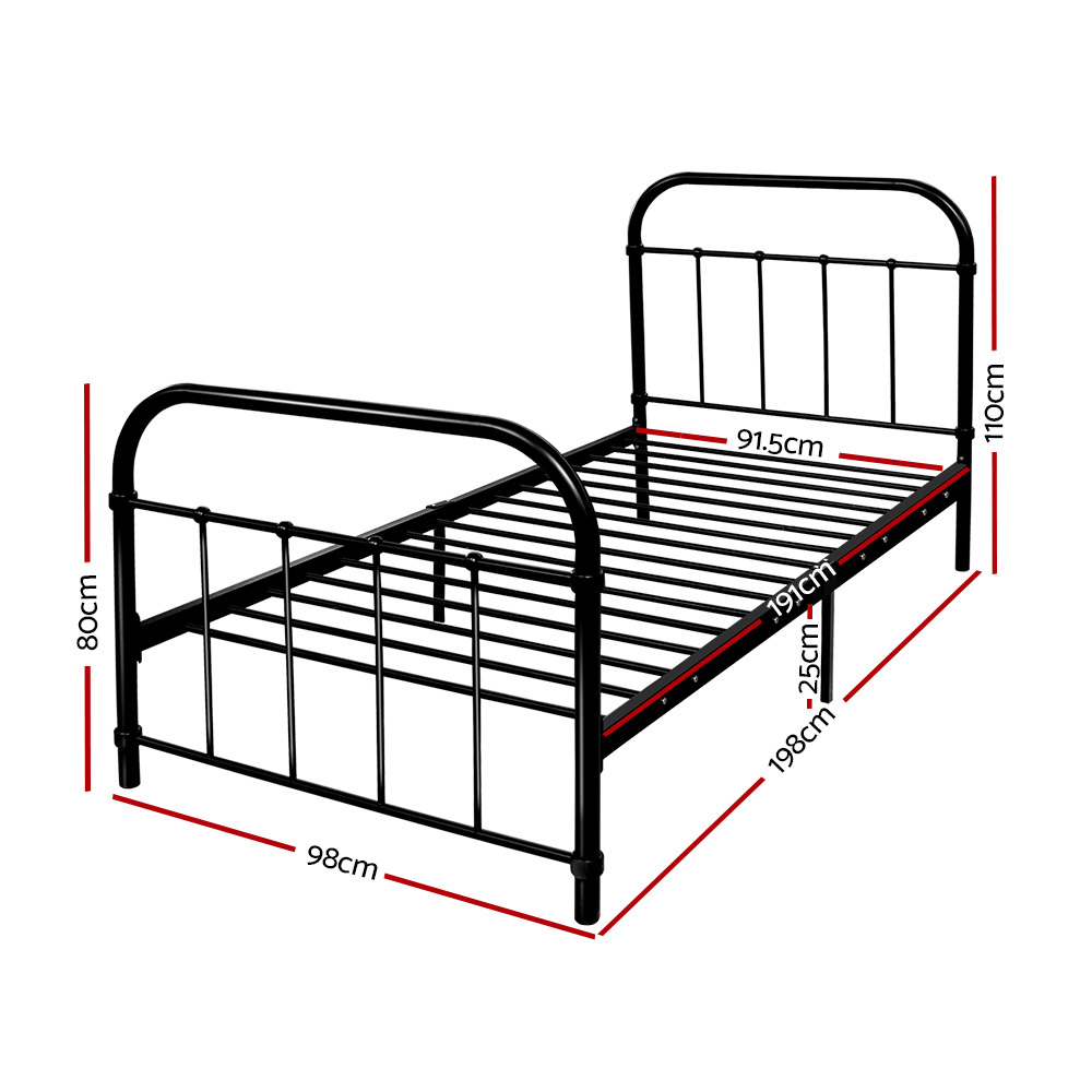 Artiss Metal Bed Frame SINGLE Metal Size Mattress Base Platform Foundation Black 2