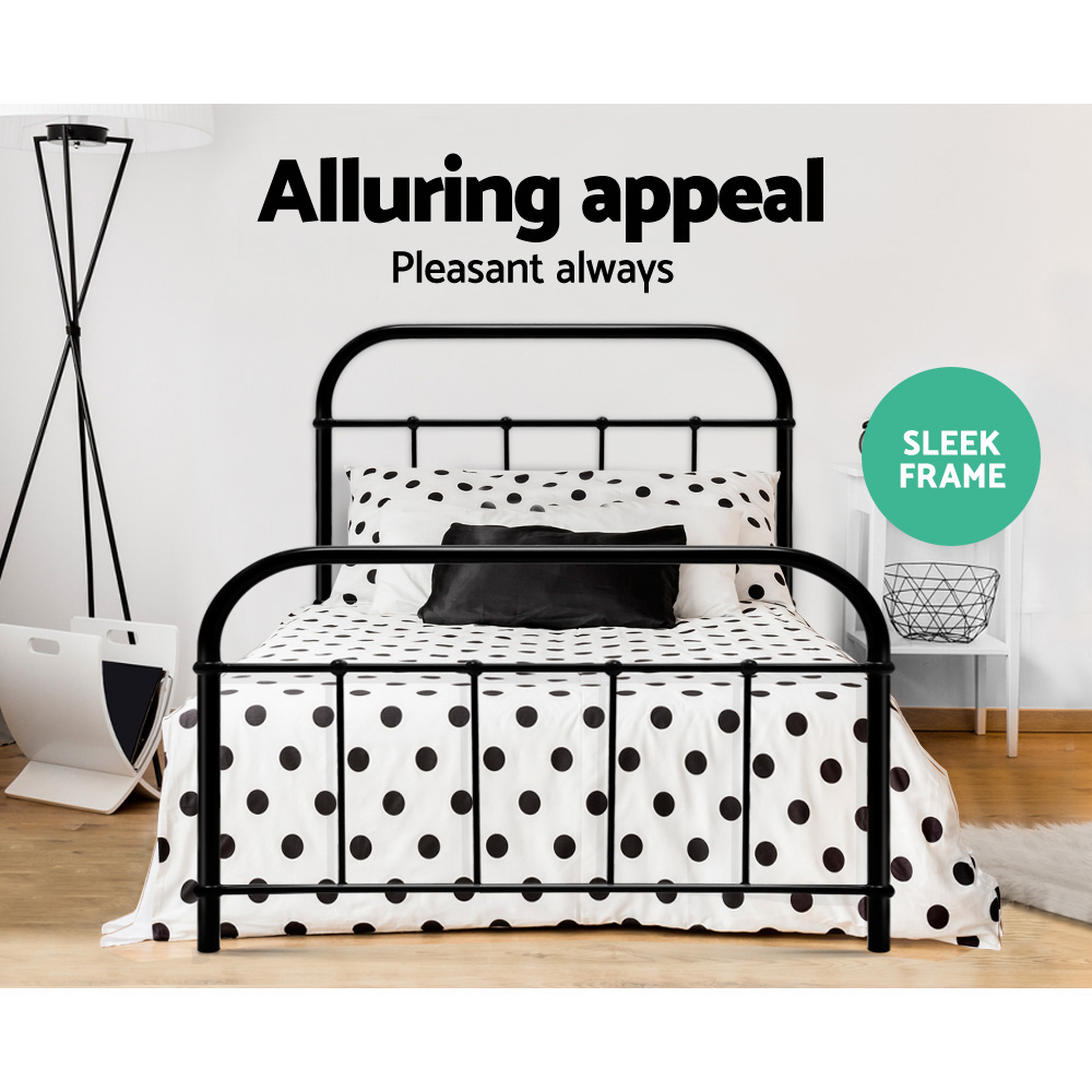 Artiss Metal Bed Frame SINGLE Metal Size Mattress Base Platform Foundation Black 4