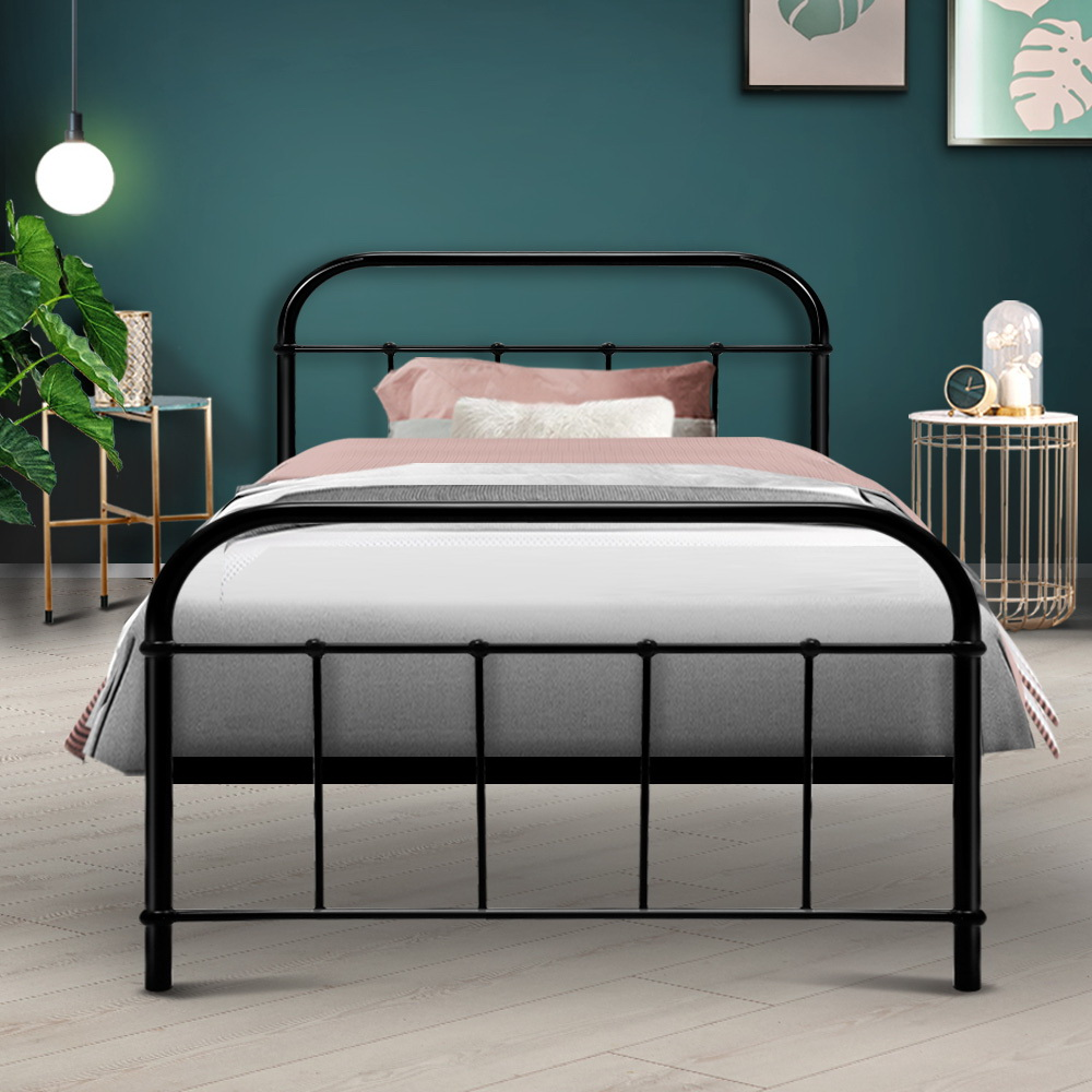 Artiss Metal Bed Frame SINGLE Metal Size Mattress Base Platform Foundation Black 7