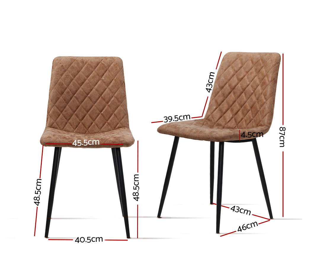 Artiss Dining Chairs Replica Kitchen Chair PU Leather Padded Retro Iron Legs x2 2
