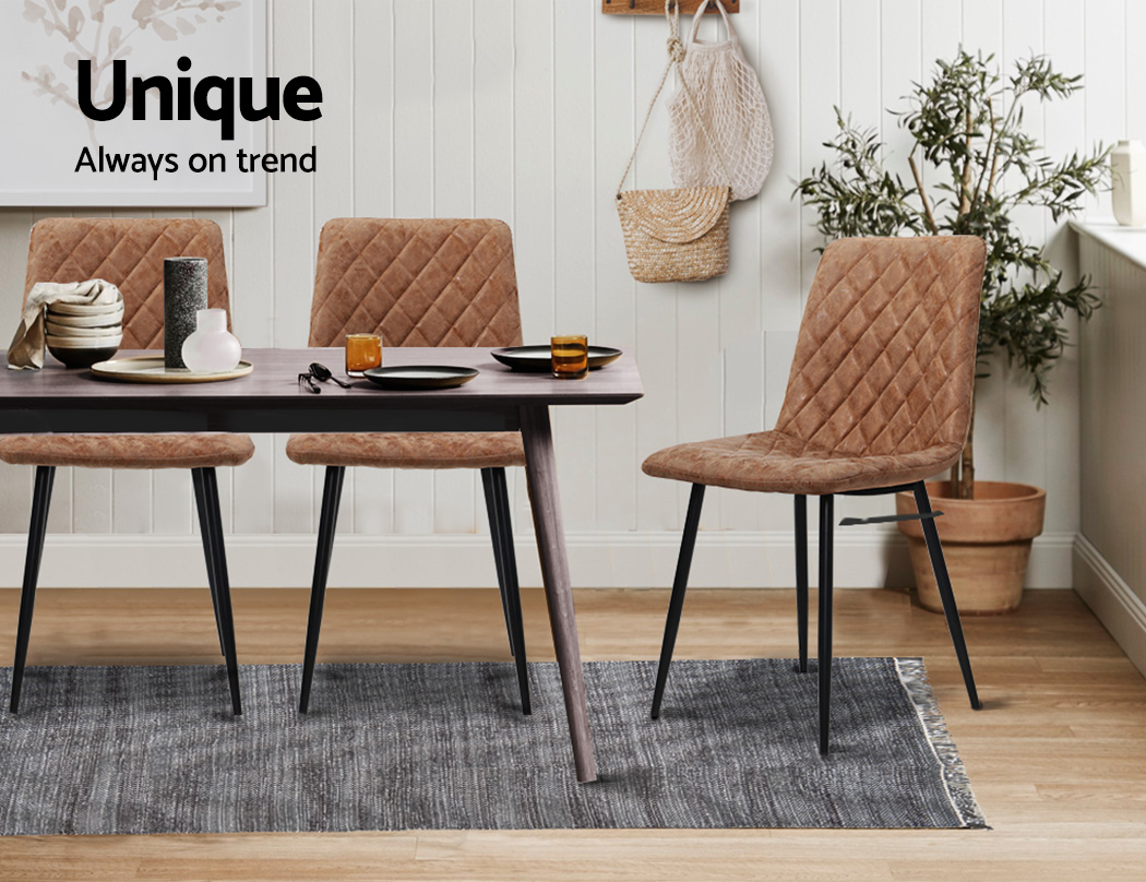 Artiss Dining Chairs Replica Kitchen Chair PU Leather Padded Retro Iron Legs x2 3