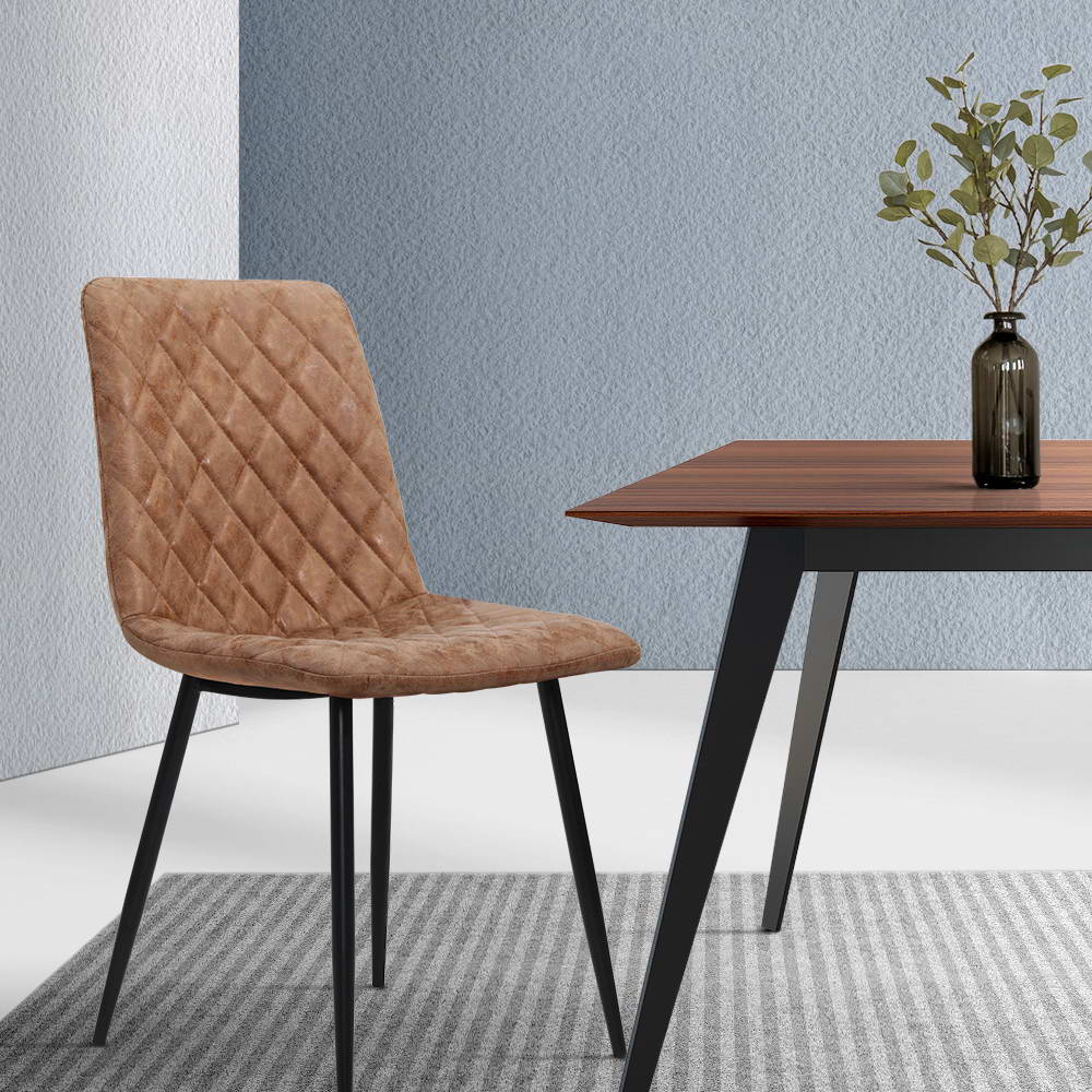 Artiss Dining Chairs Replica Kitchen Chair PU Leather Padded Retro Iron Legs x2 7