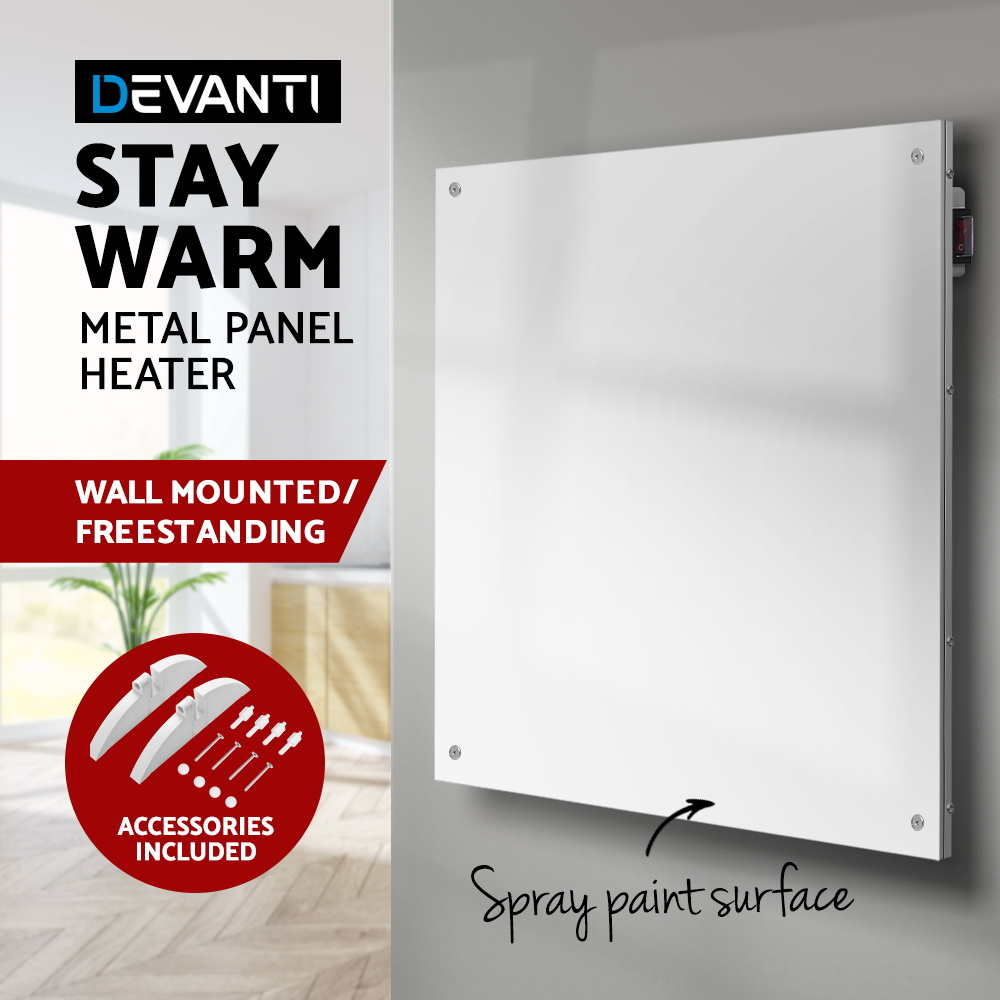 Devanti 450W Metal Wall Mount Panel Heater Infrared Slimline Portable Caravan White 3