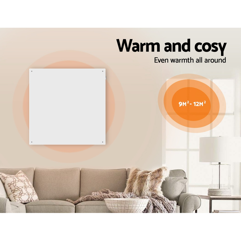 Devanti 450W Metal Wall Mount Panel Heater Infrared Slimline Portable Caravan White 4