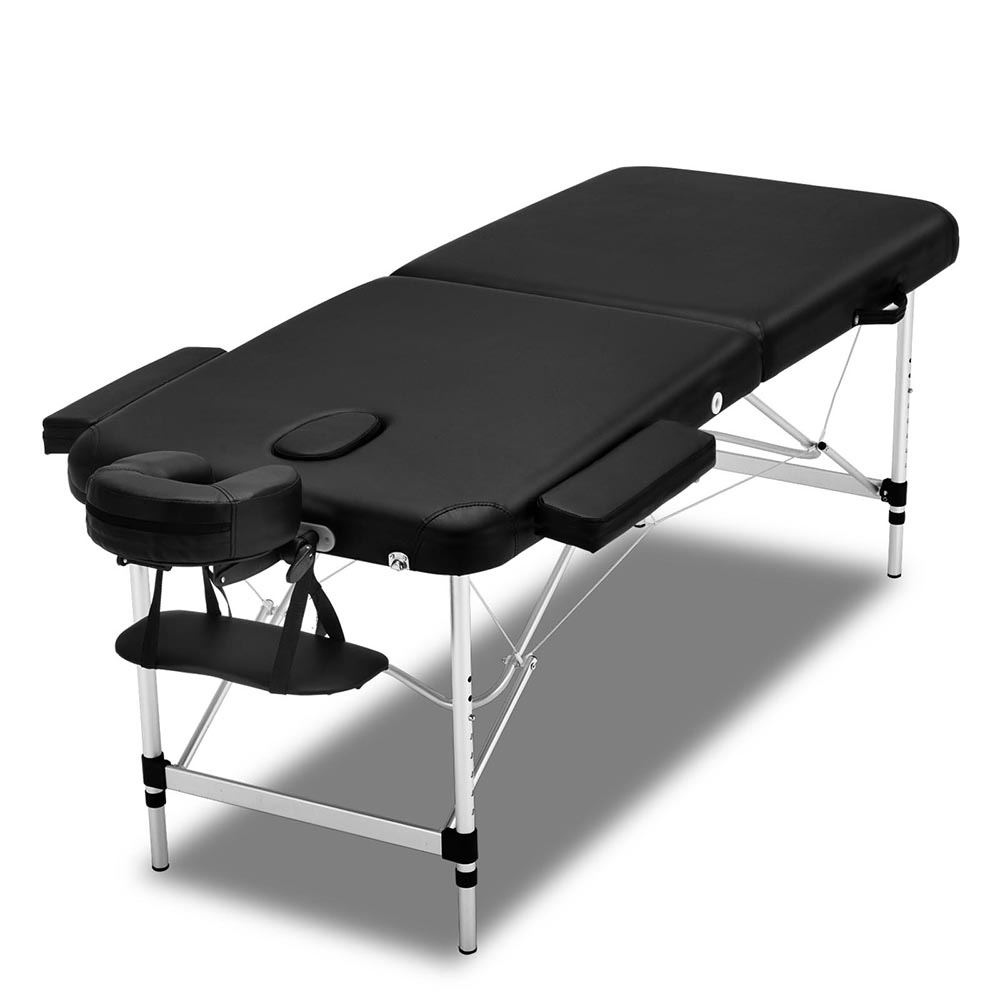Zenses 70cm Wide Portable Aluminium Massage Table Two Fold Treatment Beauty Therapy Black 1