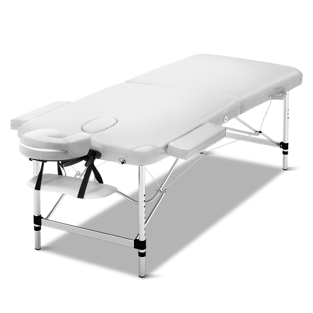 Zenses 75cm Wide Portable Aluminium Massage Table Two Fold Treatment Beauty Therapy White 1