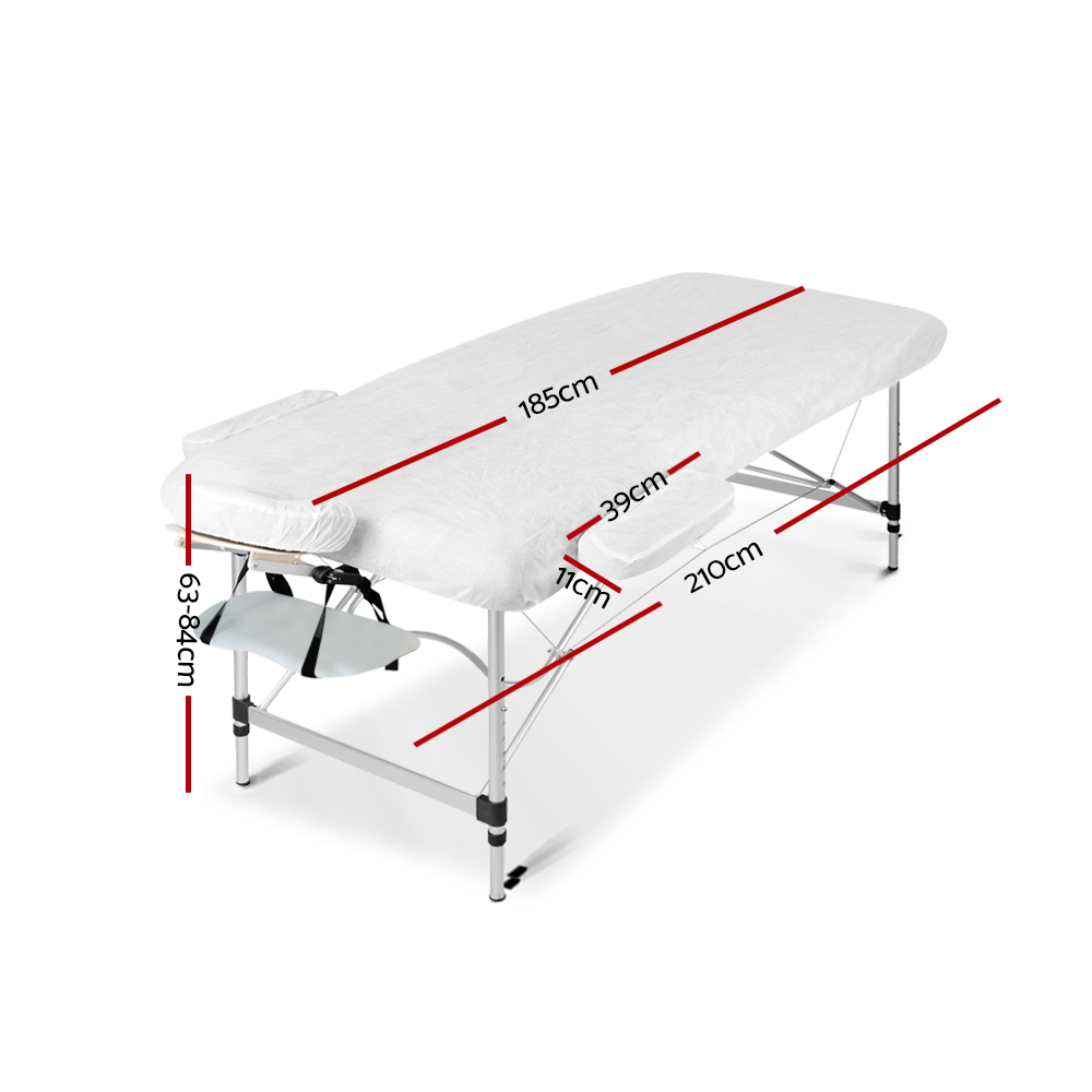Zenses 75cm Wide Portable Aluminium Massage Table Two Fold Treatment Beauty Therapy White 2