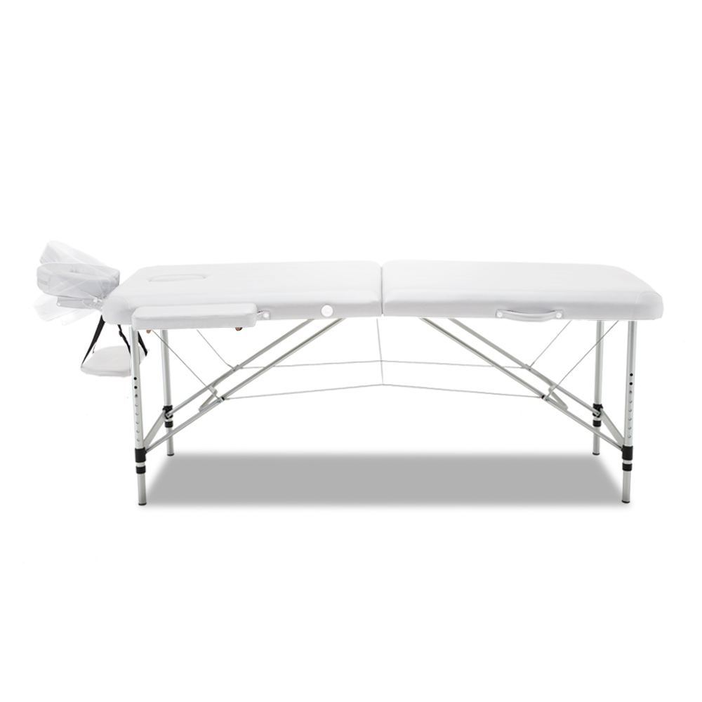 Zenses 75cm Wide Portable Aluminium Massage Table Two Fold Treatment Beauty Therapy White 3