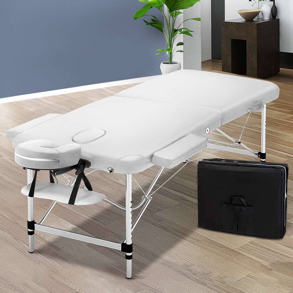 Zenses 75cm Wide Portable Aluminium Massage Table Two Fold Treatment Beauty Therapy White 7