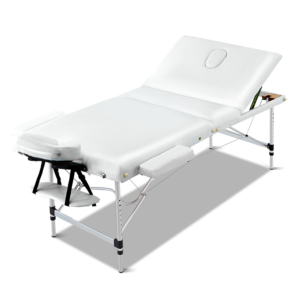 Zenses 70cm Wide Portable Aluminium Massage Table 3 Fold Treatment Beauty Therapy White 1