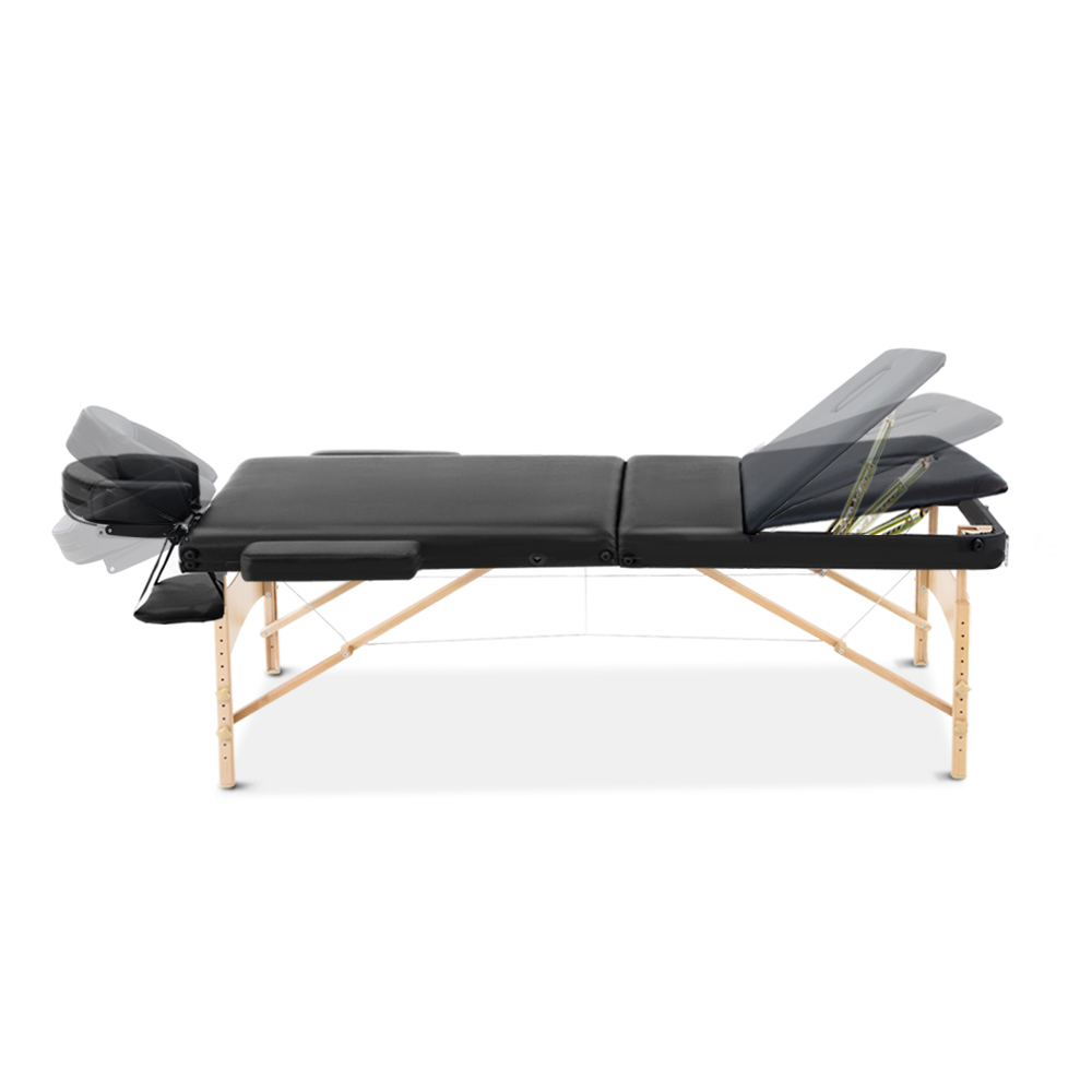 Zenses 60cm Wide Portable Wooden Massage Table 3 Fold Treatment Beauty Therapy Black 3