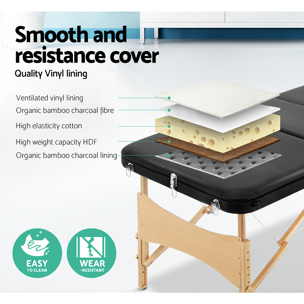 Zenses 60cm Wide Portable Wooden Massage Table 3 Fold Treatment Beauty Therapy Black 4