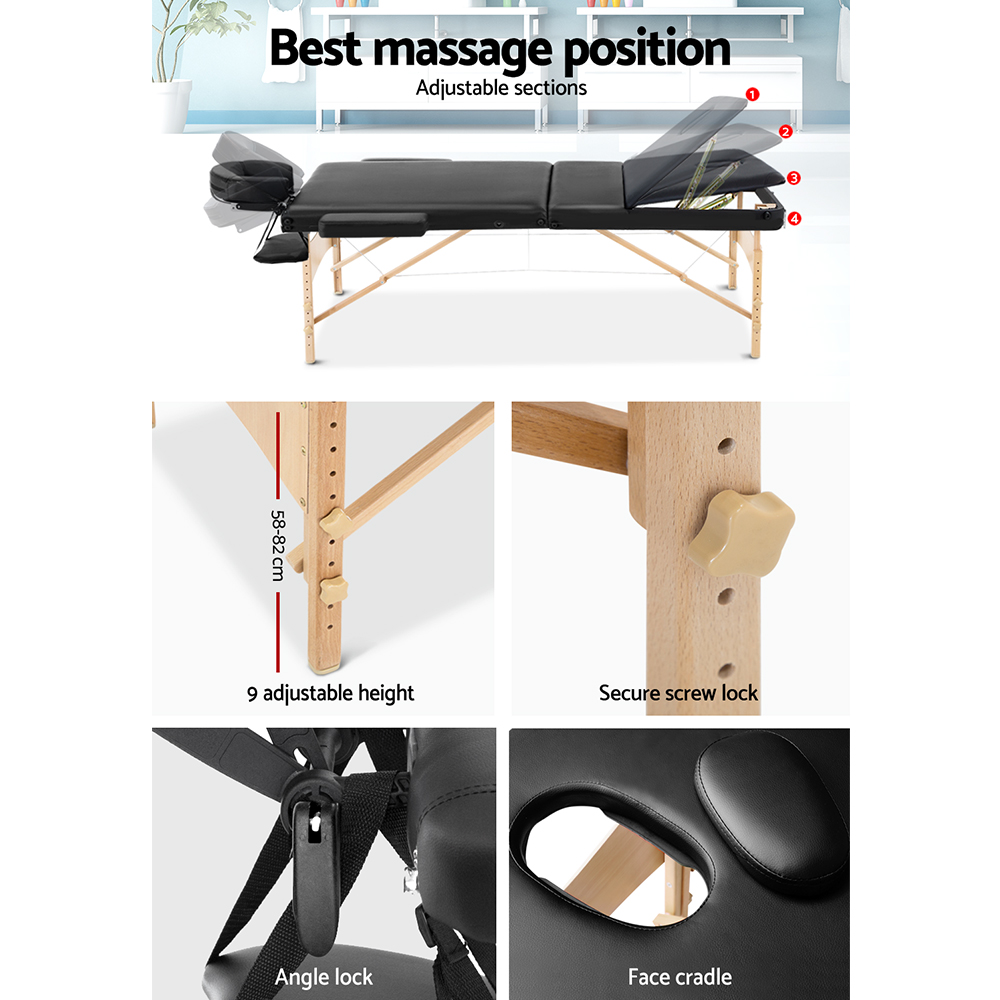 Zenses 60cm Wide Portable Wooden Massage Table 3 Fold Treatment Beauty Therapy Black 5