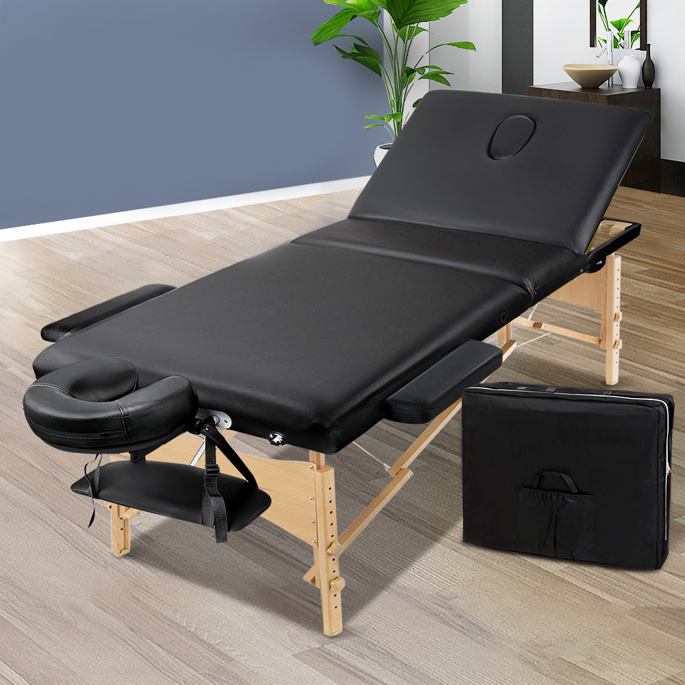 Zenses 60cm Wide Portable Wooden Massage Table 3 Fold Treatment Beauty Therapy Black 7