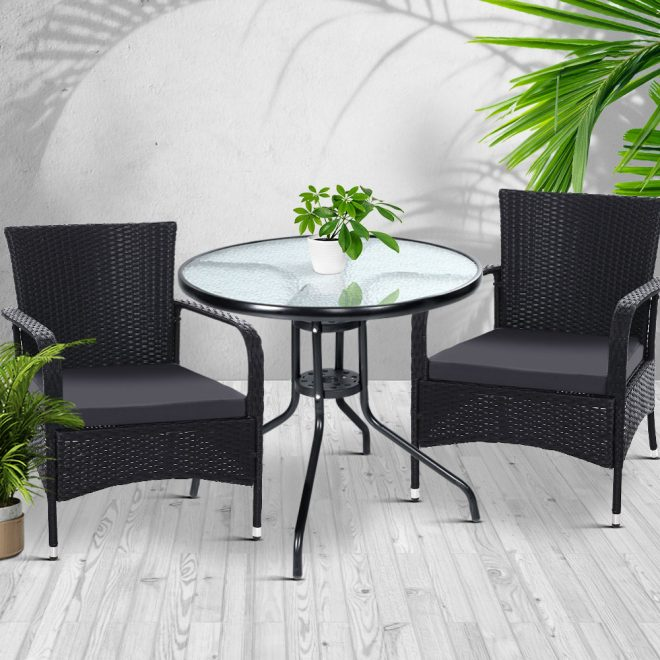 Gardeon Outdoor Dining Chairs Bistro Patio Furniture Chair Wicker Garden Extra Large Tea Coffee Cafe Bar Set 7