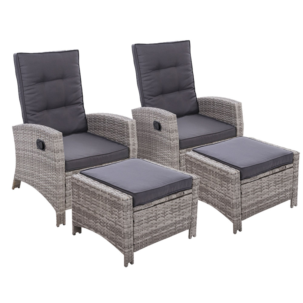 2PC Sun lounge Recliner Chair Wicker Lounger Sofa Day Bed Outdoor Chairs Patio Furniture Garden Cushion Ottoman Gardeon 1