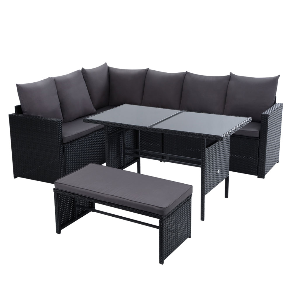 Gardeon Outdoor Furniture Dining Setting Sofa Set Lounge Wicker 8 Seater Black 1