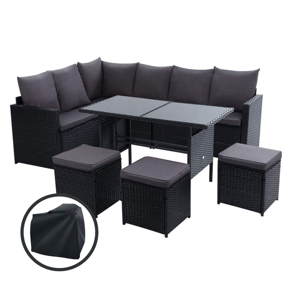 Gardeon Outdoor Furniture Dining Setting Sofa Set Wicker 9 Seater Storage Cover Black 1
