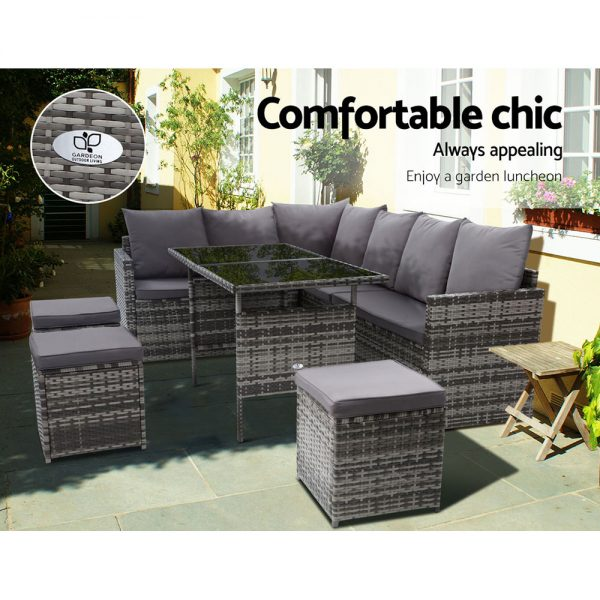 Gardeon Outdoor Furniture Dining Setting Sofa Set Lounge Wicker 9 Seater Mixed Grey 3