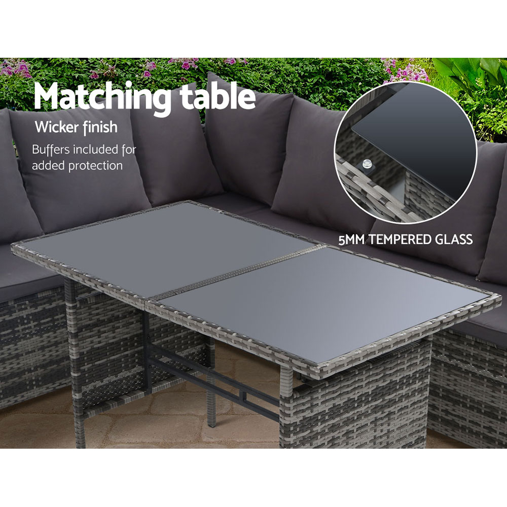Gardeon Outdoor Furniture Dining Setting Sofa Set Lounge Wicker 9 Seater Mixed Grey 5