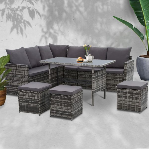 Gardeon Outdoor Furniture Dining Setting Sofa Set Lounge Wicker 9 Seater Mixed Grey 7
