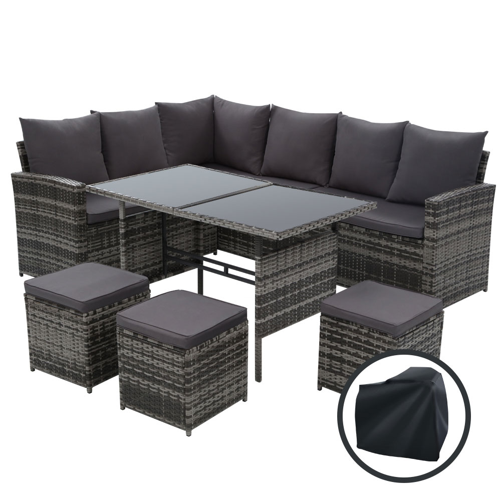 Gardeon Outdoor Furniture Sofa Set Dining Setting Wicker 9 Seater Storage Cover Mixed Grey 1