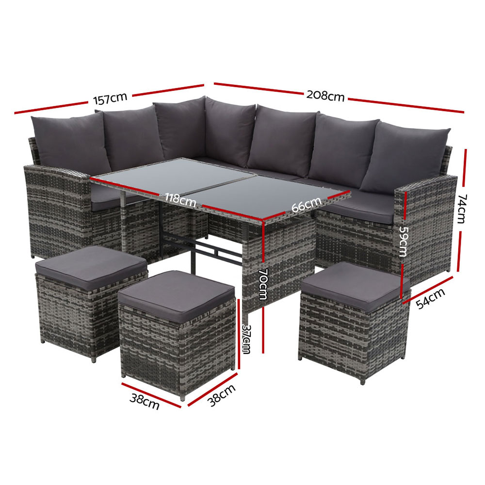 Gardeon Outdoor Furniture Sofa Set Dining Setting Wicker 9 Seater Storage Cover Mixed Grey 2