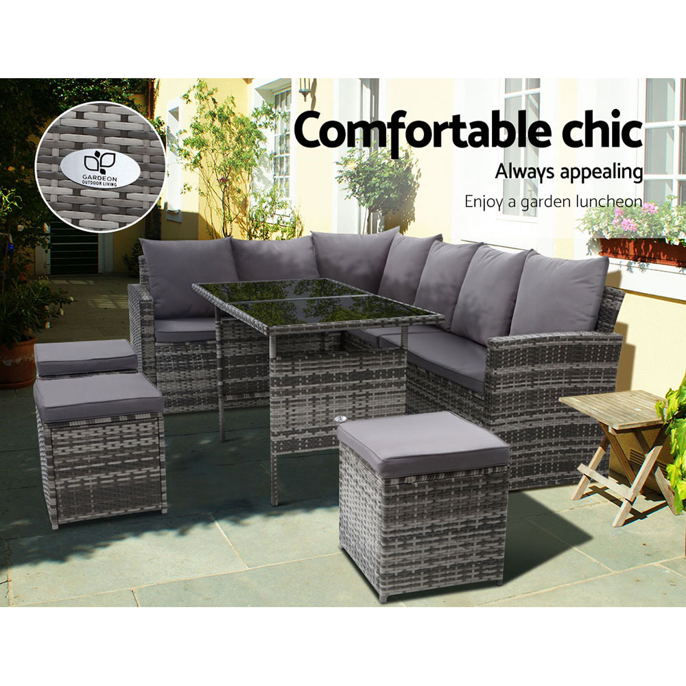 Gardeon Outdoor Furniture Sofa Set Dining Setting Wicker 9 Seater Storage Cover Mixed Grey 3