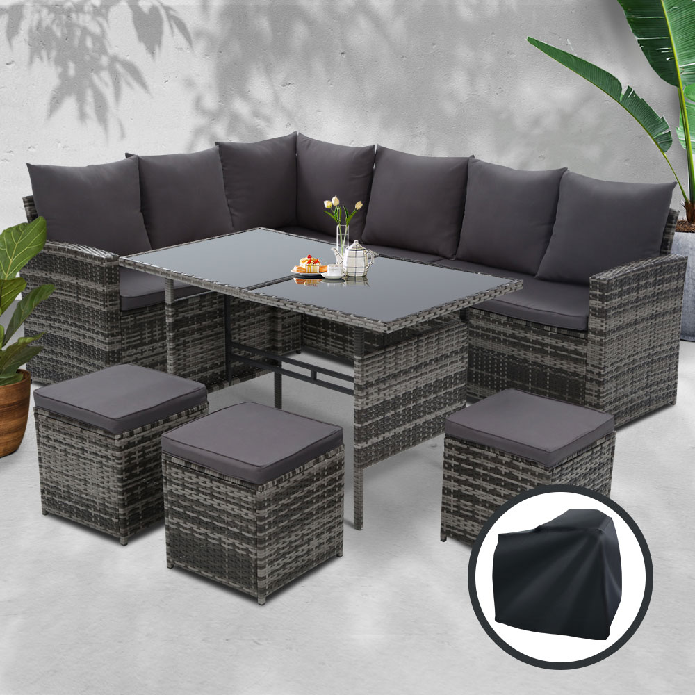 Gardeon Outdoor Furniture Sofa Set Dining Setting Wicker 9 Seater Storage Cover Mixed Grey 7