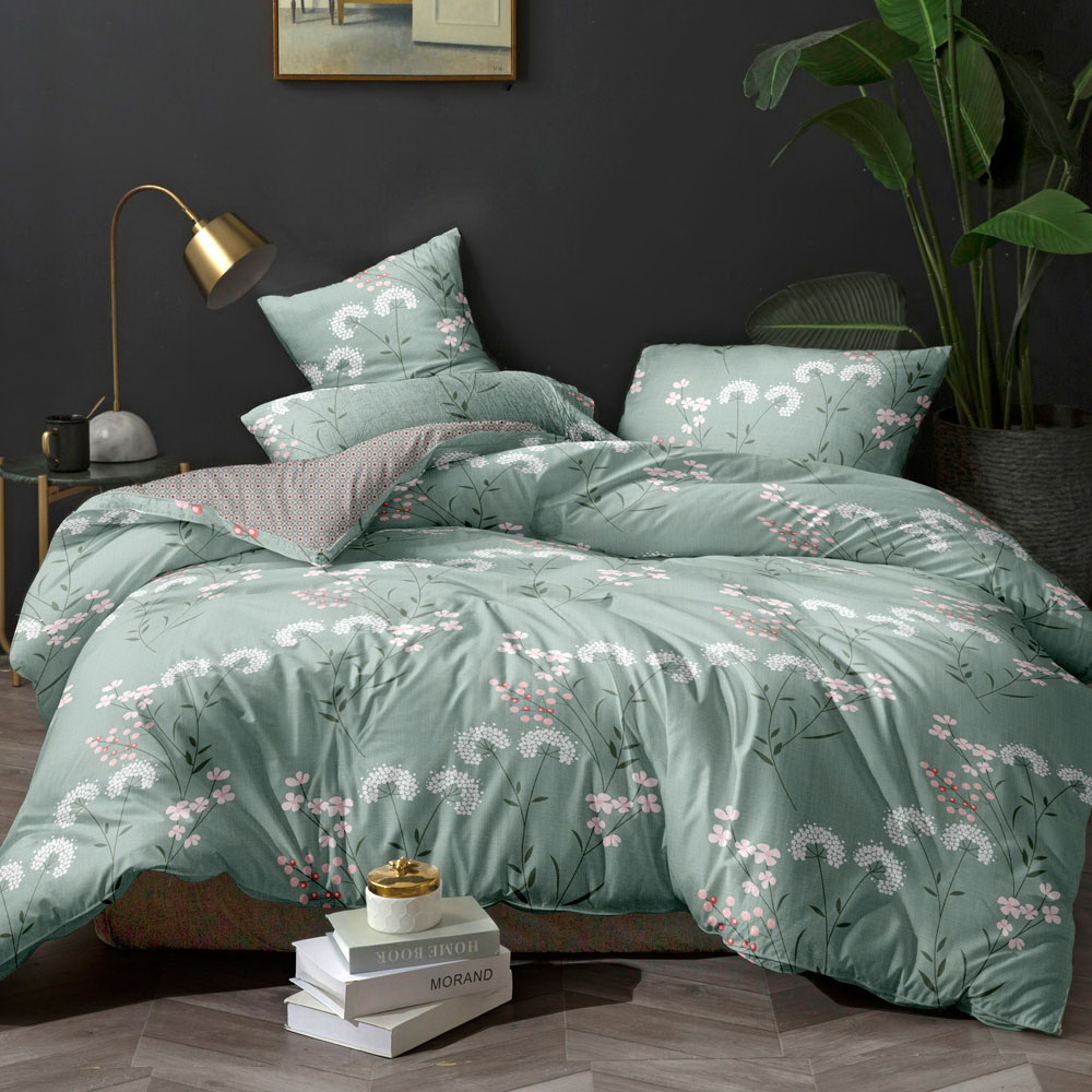 Giselle Bedding Quilt Cover Set Queen Bed Doona Duvet Reversible Sets Flower Pattern Green 3