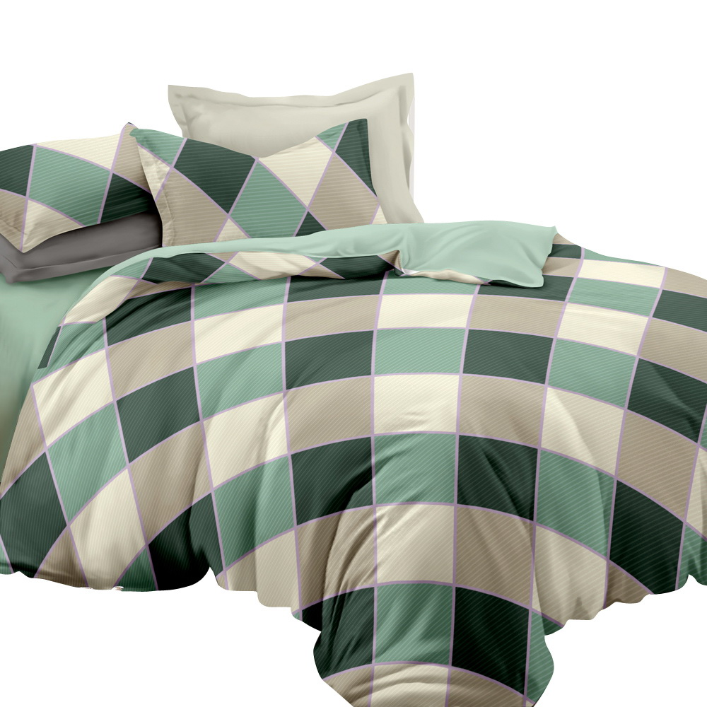 Giselle Bedding Quilt Cover Set Queen Bed Doona Duvet Reversible Sets Square Diamond Pattern 1