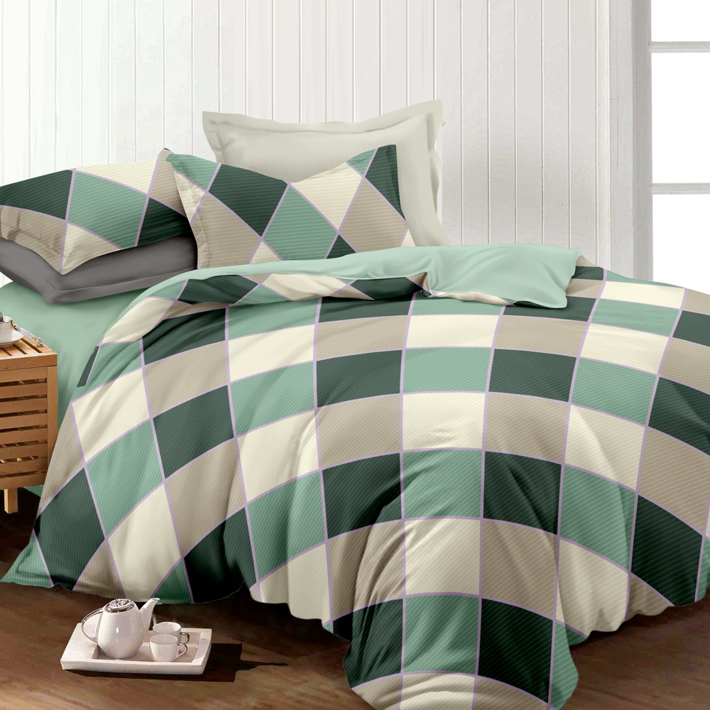 Giselle Bedding Quilt Cover Set Queen Bed Doona Duvet Reversible Sets Square Diamond Pattern 3