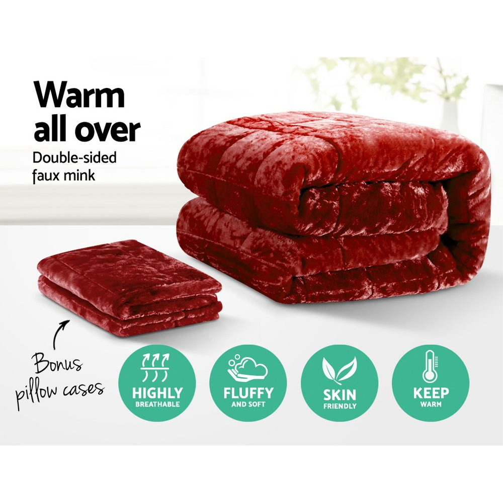 Giselle Bedding Faux Mink Quilt Comforter Winter Throw Blanket Burgundy King 3