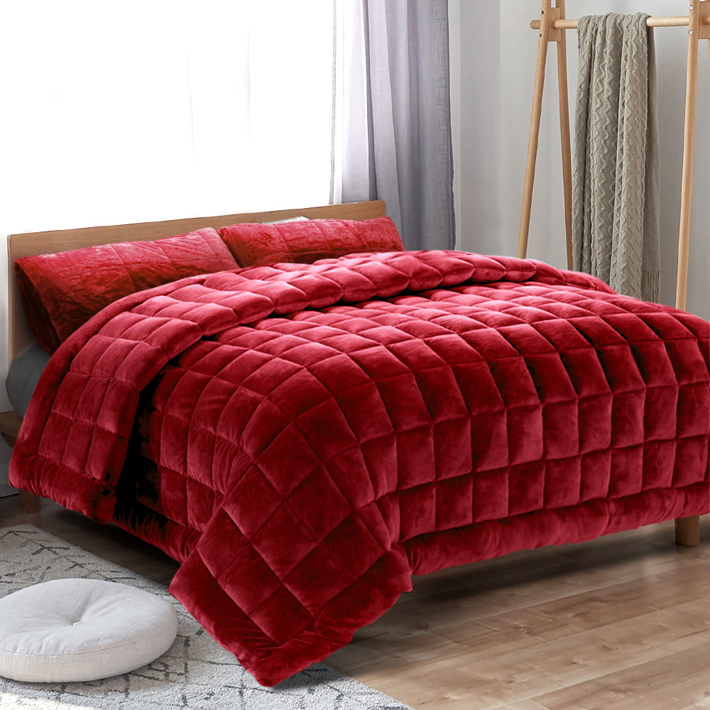 Giselle Bedding Faux Mink Quilt Comforter Winter Throw Blanket Burgundy King 7