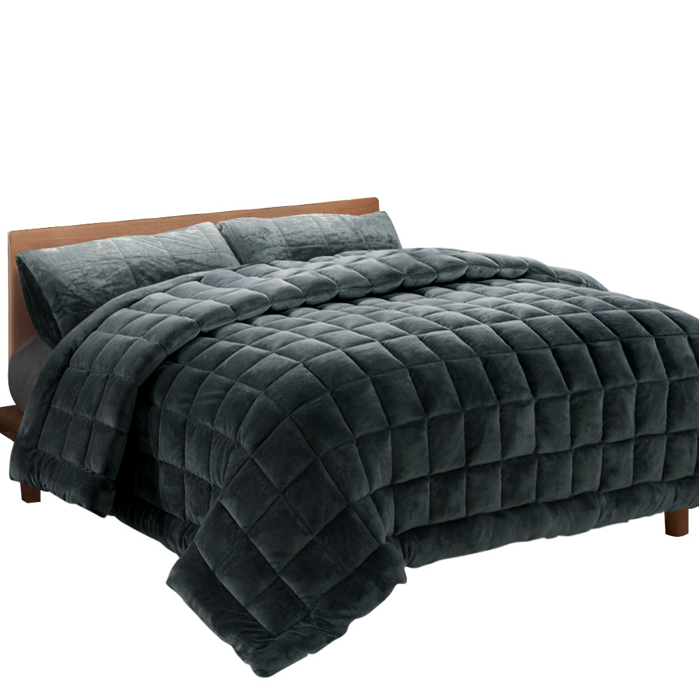 Giselle Bedding Faux Mink Quilt Fleece Throw Blanket Comforter Charcoal King