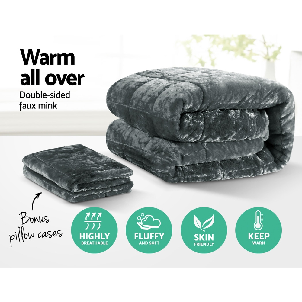 Giselle Bedding Faux Mink Quilt Comforter Throw Blanket Doona Charcoal Queen 3