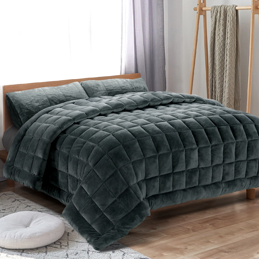 Giselle Bedding Faux Mink Quilt Comforter Throw Blanket Doona Charcoal Queen 7