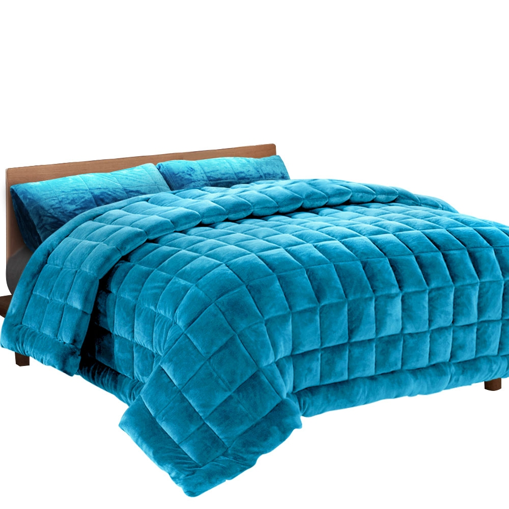 Giselle Bedding Faux Mink Quilt Comforter Winter Weight Throw Blanket Teal Super King 1
