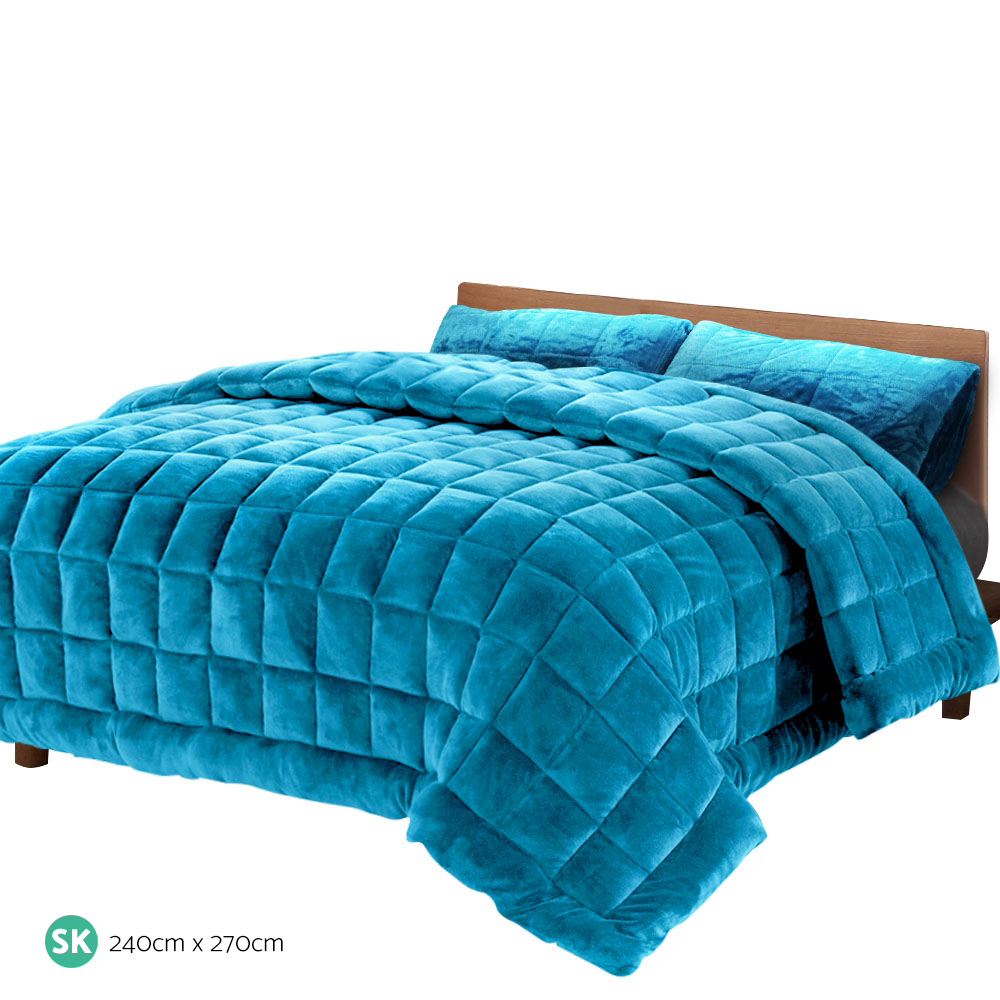 Giselle Bedding Faux Mink Quilt Comforter Winter Weight Throw Blanket Teal Super King 2