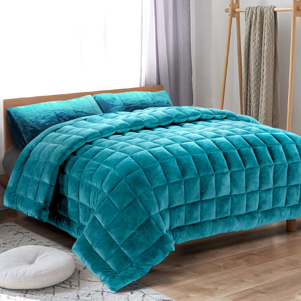 Giselle Bedding Faux Mink Quilt Comforter Winter Weight Throw Blanket Teal Super King 7