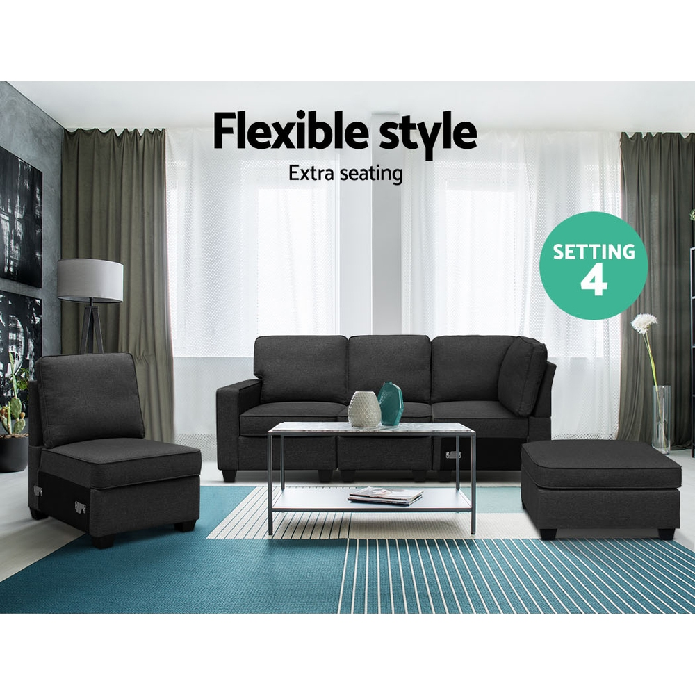 Artiss Sofa Lounge Set 5 Seater Modular Chaise Chair Suite Couch Dark Grey 4