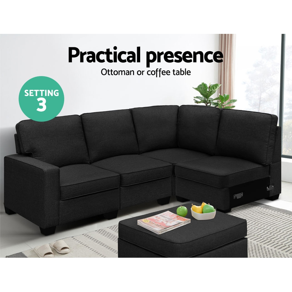 Artiss Sofa Lounge Set 5 Seater Modular Chaise Chair Suite Couch Dark Grey 6