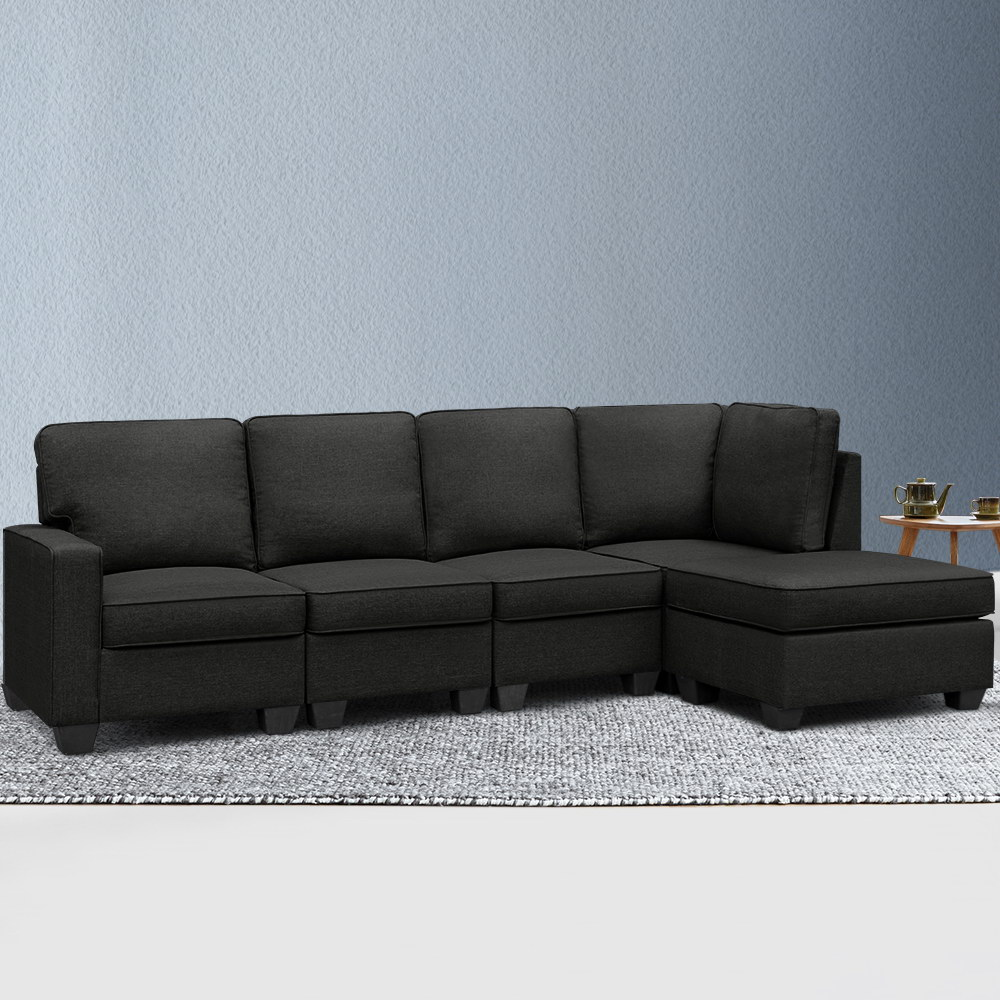 Artiss Sofa Lounge Set 5 Seater Modular Chaise Chair Suite Couch Dark Grey 7